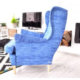 Fotel Denim w tkaninie dżins