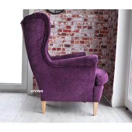 Fotel uszak w fioletowym sztruksie
