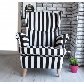 Fotel uszak w piękne pasy czarno białe