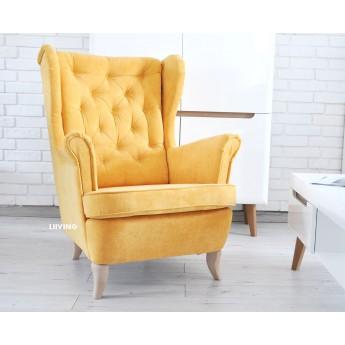 Fotel uszak żółty welurek pikowany chesterfield