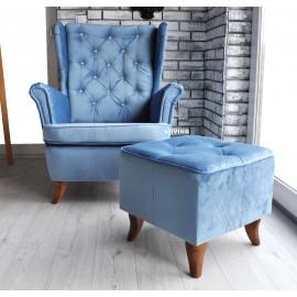 fotel w pluszu + brylanty