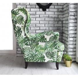 Fotel uszak w róże DVS biały podkład elegance
