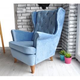 Fotel uszak w pluszu BLUE + brylanty