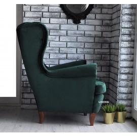 fotel uszak w zielonej tkaninie butelkowej