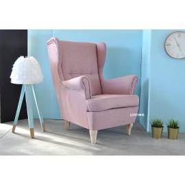Fotel uszak różowy plusz