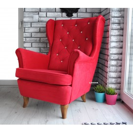 Fotel uszak w czerwonym welurze + brylanty !