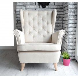 Fotel uszak w tkaninie imitacja lnu kolor ECRU