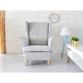 Fotel uszak w jasno szarej tkaninie imitującej len