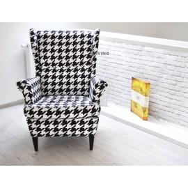 Fotel uszak w tkaninie pepitka czarno biała duża