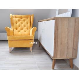 Fotel uszak w tkaninie welur żółty kolor