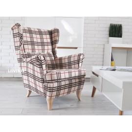 Fotel uszak w tkaninie krata SZKOCKA