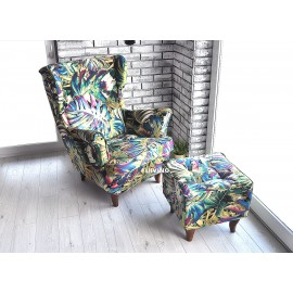 Fotel uszak w liście paproci super kolory !