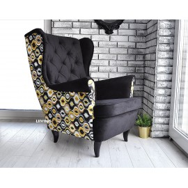 Fotel uszak w pawie oczka odcień żółtego