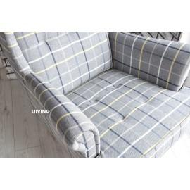 Fotel uszak w kratę norweską