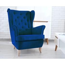 Fotel uszak w pięknej tkaninie ciemny granat królewski