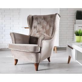 Fotel uszak w tkaninie brąz LATTE
