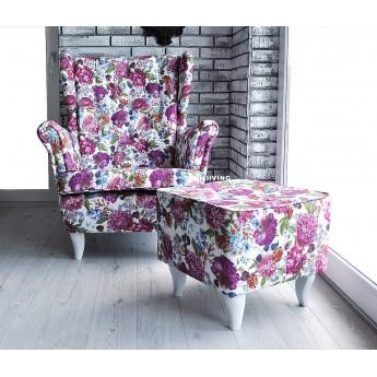 Fotel uszak w kwiaty piękne piwonie