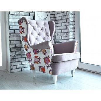 Fotel uszak w jasnym fiolecie i sowy !