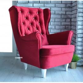 Fotel uszak w kolorze bordo + guziki z godłem ! Unikat