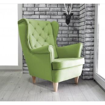 Fotel uszak w tkaninie PLUSZ VELVET GLAM kolor zielony