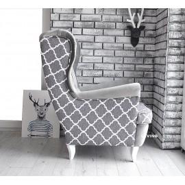 Fotel uszak w marokańskiej koniczynie jasno szara