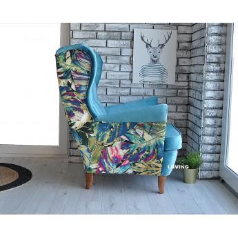 Fotel uszak w tkaninie papu a przód BLUE SKY