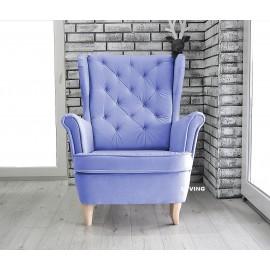 Fotel uszak w tkaninie PLUSZ VELVET GLAM kolor jasny fiolet