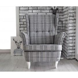 Fotel uszak w tkaninie krata ANGIELSKA