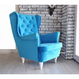 Fotel uszak w tkaninie PLUSZ VELVET GLAM blue z brylantami