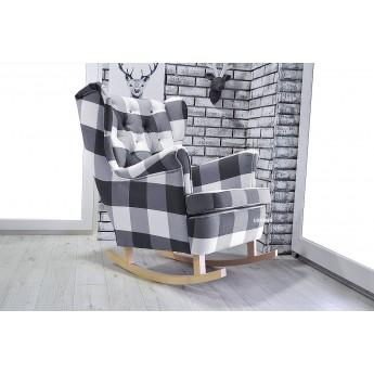 Fotel uszak bujany w tkaninie KRATA