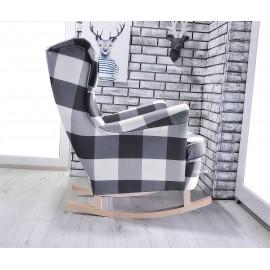 Fotel uszak buajny w tkaninie KRATA