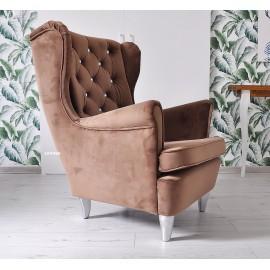 Fotel uszak w tkaninie PLUSZ VELVET GLAM brown z brylantami