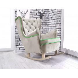 Fotel uszak bujany w latte + lamówka