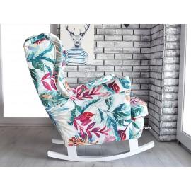 Fotel uszak bujany w kolorze JUNGLE na białych płozach