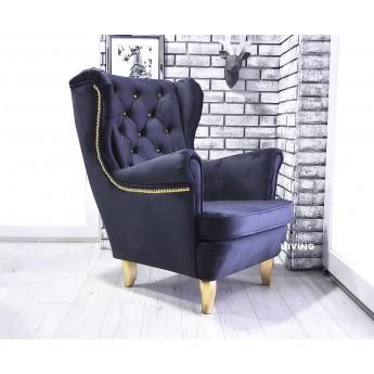 Fotel uszak w ciemny granat + złote brylanty pinezki i nóżki