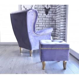 Fotel uszak w KOLORZE jasny fiolet velvet + złote dodatki !