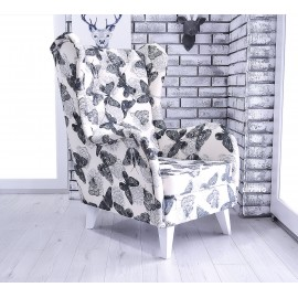 Fotel uszak SLIM tkanina w piękne motyle !