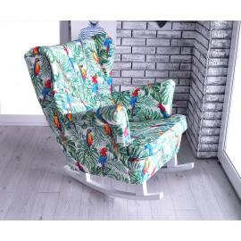 Fotel uszak na płozach tkanina papugi z motywami roślinnymi !