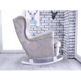 Fotel uszak bujany w tkaninie pałacowej MEDALIONY żakard
