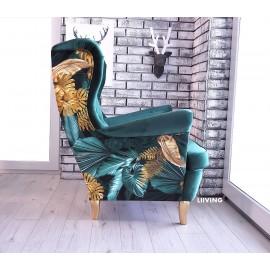 Fotel uszak w motywach złotych liści + zieleń
