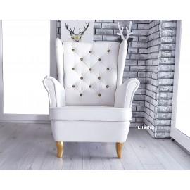 Fotel uszak w pięknej eko skórze białej z dodatkami złotymi
