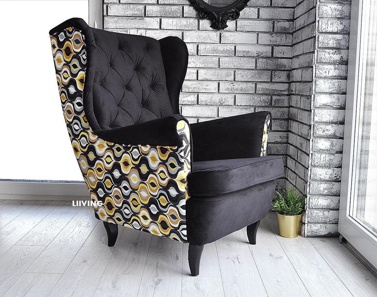 fotel w pawie oczka