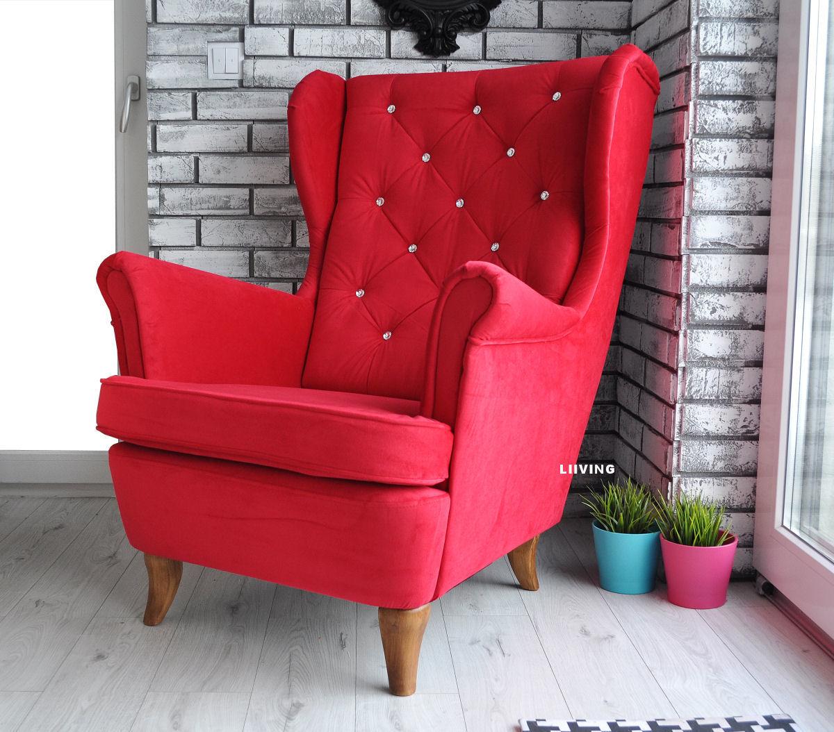 fotel uszak czerwony z brylantami